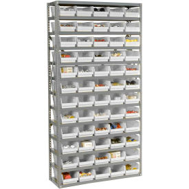 "Steel Shelving with 60 4""H Plastic Shelf Bins Ivory - 36x12x72-13 Shelves"