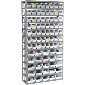 "Steel Shelving with Total 81 4""H Plastic Shelf Bins Stone White, 36x12x72-13 Shelves"