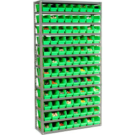 "Steel Shelving with 96 4""H Plastic Shelf Bins Green, 36x12x72-13 Shelves"