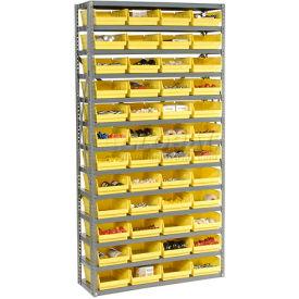 "Steel Shelving with 60 4""H Plastic Shelf Bins Green, 36x18x72-13 Shelves"