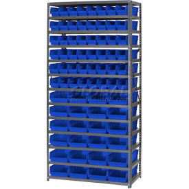 "Steel Shelving with Total 76 4""H Plastic Shelf Bins Green, 36x18x72-13 Shelves"