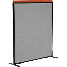 "Deluxe Freestanding Office Partition Panel, 36-1/4""W x 43-1/2""H, Gray"