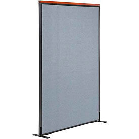 "Deluxe Freestanding Office Partition Panel, 36-1/4""W x 61-1/2""H, Blue"