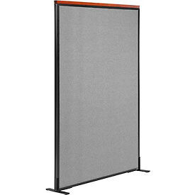 """Deluxe Freestanding Office Partition Panel, 36-1/4""""W x 61-1/2""""H, Gray"""