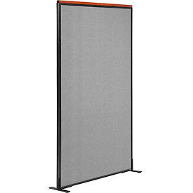 """Deluxe Freestanding Office Partition Panel, 36-1/4""""W x 73-1/2""""H, Gray"""