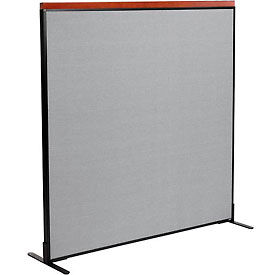 """Deluxe Freestanding Office Partition Panel, 60-1/4""""W x 61-1/2""""H, Gray"""