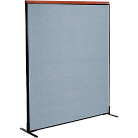 """Deluxe Freestanding Office Partition Panel, 60-1/4""""W x 73-1/2""""H, Blue"""