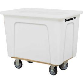 "Wesco® Plastic Box Truck 4 Bushel White 272505 5"" Casters"