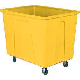 "Wesco® Plastic Box Truck 4 Bushel Yellow 272507 5"" Casters"