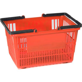 """Plastic Shopping Basket with Plastic Handle, Tall, 16""""L X 12""""W X 10""""H, Red, Good L Corp. ® - Pkg Qty 12"""