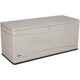 Lifetime 60040 Outdoor Deck Storage Bench Box 130 Gallon, Sand W/Black  Bottom