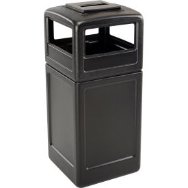 42 Gallon Square Trash Container with Ashtray Lid, Black - 73300199