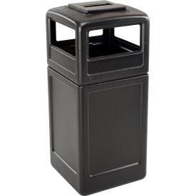 42 Gallon Square Trash Container with Ashtray Lid, Black - 73300199