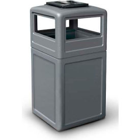 42 Gallon Square Trash Container with Ashtray Lid, Gray - 73300399