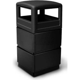 38 Gallon Square Three-Tier Receptacle with Dome Lid, Black - 73250199