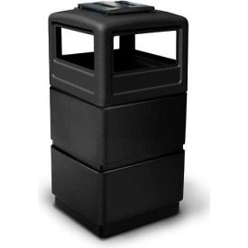 38 Gallon Square Three-Tier Receptacle with Ashtray Lid, Black - 73260199