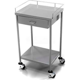Aero® Stainless Steel Anesthesia Table CSDW-1-1620 1 Drawer Guard Rail Top Shelf