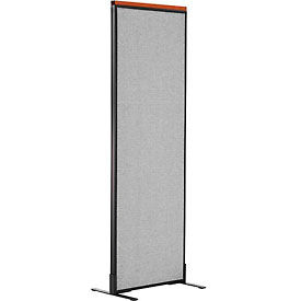 "Deluxe Freestanding Office Partition Panel, 24-1/4""W x 73-1/2""H, Gray"