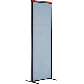 "Deluxe Freestanding Office Partition Panel, 24-1/4""W x 73-1/2""H, Blue"
