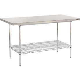"""60"""" W x 30"""" D Stainless Steel Top Wire Work Table"""