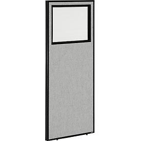 """Office Partition Panel with Partial Window, 24-1/4""""W x 60""""H, Gray"""