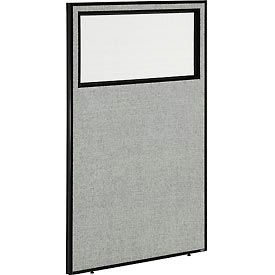 "Office Partition Panel with Partial Window, 36-1/4""W x 60""H, Gray"