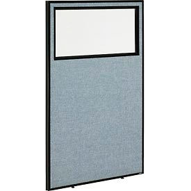 """Office Partition Panel with Partial Window, 36-1/4""""W x 60""""H, Blue"""