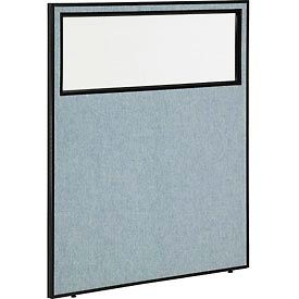 "Office Partition Panel with Partial Window, 48-1/4""W x 60""H, Blue"
