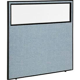 "Office Partition Panel with Partial Window, 60-1/4""W x 60""H, Blue"