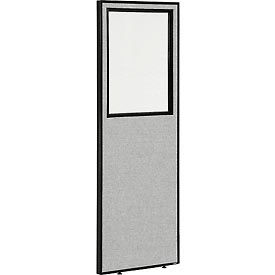 """Office Partition Panel with Partial Window, 24-1/4""""W x 72""""H, Gray"""
