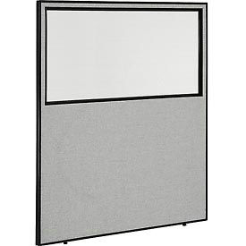 "Office Partition Panel with Partial Window, 60-1/4""W x 72""H, Gray"