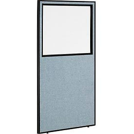 """Office Partition Panel with Partial Window, 36-1/4""""W x 72""""H, Blue"""