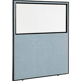 "Office Partition Panel with Partial Window, 60-1/4""W x 72""H, Blue"