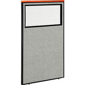"""Deluxe Office Partition Panel with Partial Window, 36-1/4""""W x 61-1/2""""H, Gray"""