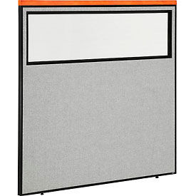 "Deluxe Office Partition Panel with Partial Window, 60-1/4""W x 61-1/2""H, Gray"