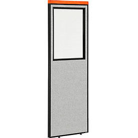 """Deluxe Office Partition Panel with Partial Window, 24-1/4""""W x 73-1/2""""H, Gray"""