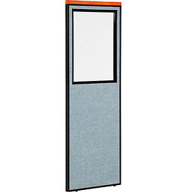 "Deluxe Office Partition Panel with Partial Window, 24-1/4""W x 73-1/2""H, Blue"