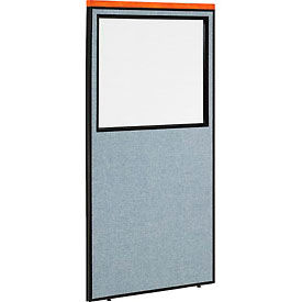 """Deluxe Office Partition Panel with Partial Window, 36-1/4""""W x 73-1/2""""H, Blue"""