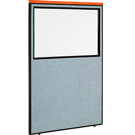 "Deluxe Office Partition Panel with Partial Window, 48-1/4""W x 73-1/2""H, Blue"