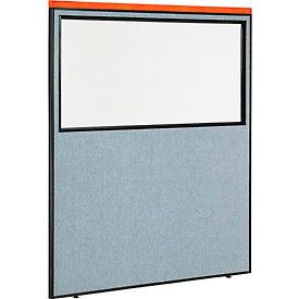 "Deluxe Office Partition Panel with Partial Window, 60-1/4""W x 73-1/2""H, Blue"