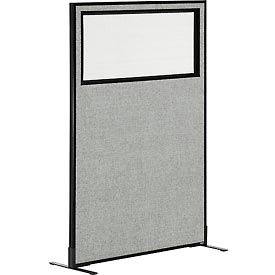 "Freestanding Office Partition Panel with Partial Window, 36-1/4""W x 60""H, Gray"