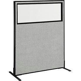 "Freestanding Office Partition Panel with Partial Window, 48-1/4""W x 60""H, Gray"