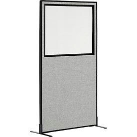 "Freestanding Office Partition Panel with Partial Window, 36-1/4""W x 72""H, Gray"
