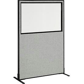"Freestanding Office Partition Panel with Partial Window, 48-1/4""W x 72""H, Gray"