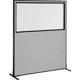 """Freestanding Office Partition Panel with Partial Window, 60-1/4""""W x 72""""H, Gray"""