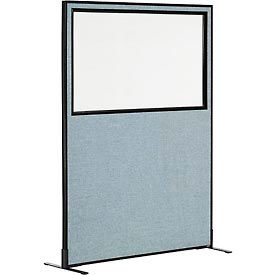 """Freestanding Office Partition Panel with Partial Window, 48-1/4""""W x 72""""H, Blue"""