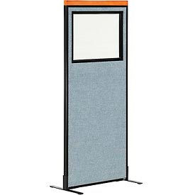 """Deluxe Freestanding Office Partition Panel with Partial Window, 24-1/4""""W x 61-1/2""""H, Blue"""