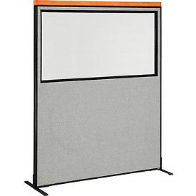 "Deluxe Freestanding Office Partition Panel with Partial Window, 60-1/4""W x 73-1/2""H, Gray"