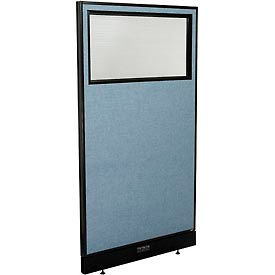 "Electric Office Partition Panel with Partial Window, 36-1/4""W x 64""H, Blue"