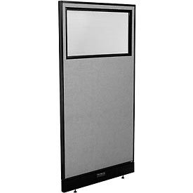 "Electric Office Partition Panel with Partial Window, 36-1/4""W x 76""H, Gray"
